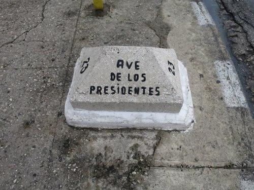 哈瓦那總統大街。街上有多位重要拉丁美洲領導人的塑像。