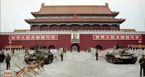 1989年6月10日,天安門城樓。