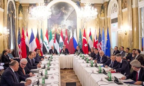 2015年11月13日奧地利維也納敘利亞問題會議會場(來源:Joe Klamar/AFP/Getty Images)