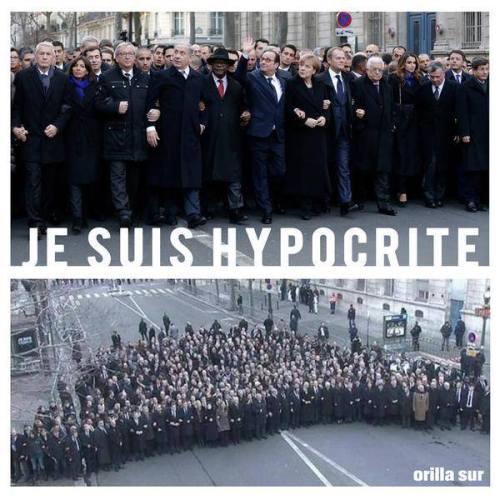 2015年1月,《查理週刊》編輯部遇襲後,西方各國領袖在巴黎擺拍團結反恐照片。(網絡圖片)