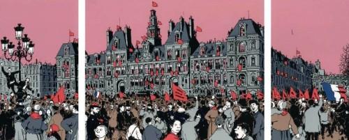 法國左派漫畫家雅克·塔爾迪(Jacques Tardi)筆下的巴黎公社成立慶典。